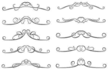 dividing: set of ten swirled decorations