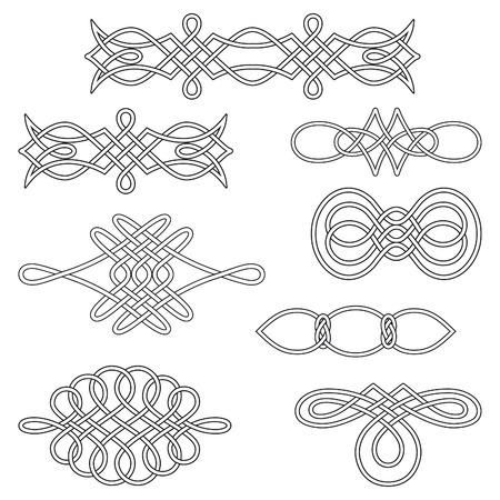 Set of nine interlaced decorations