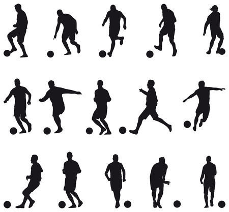 Collection of football players silhouettes Illustration