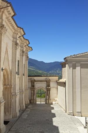 italian architecture: Santa Maria Maggiore church prospectus and court. Caramanico Terme, Abruzzo region, Italy