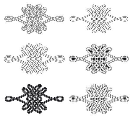 Celtic knot six different arrangements Vector