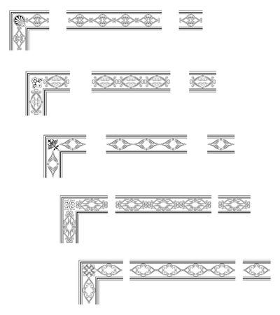stile liberty: Angoli e bordi modulari per creare cornici a qualsiasi dimensione Vettoriali