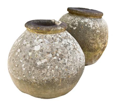 antique vase: Ancient big roman jars isolated on white (found in Villa del casale, Piazza Armerina, Sicily)