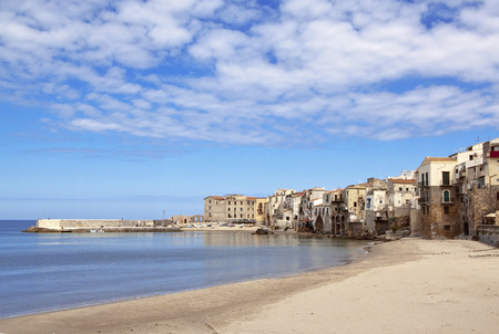 palermo italy: Cefalu beach at the beginning of spring, Sicily