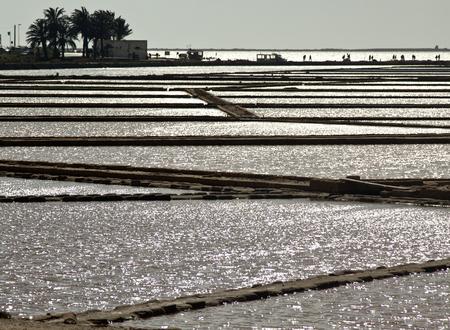evaporacion: Sal estanques de evaporaci�n en Stagnone laguna, Marsala, Sicilia