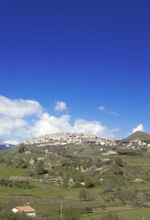 View of Prizzi, small town on the top of an hill, Sicily.