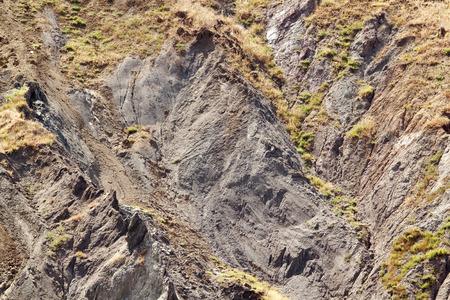 slump: Landslide detail in clayey soil Stock Photo
