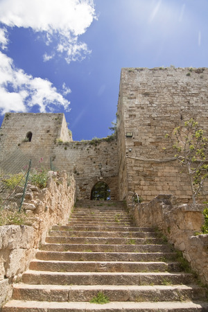 saint nicholas: View of Lombardy Castle: staircase from Saint Nicholas courtyard to Maddalena courtyard. Enna, Sicily