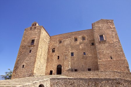 known: Castello di Castelbuono facade (Castlelbuono Castle), also known as Castello dei Ventimiglia (Ventimiglia Castle). Palermo surroundings, Sicily, Italy