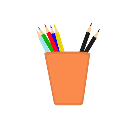 with sets of elements: Vector illustration of a pencil