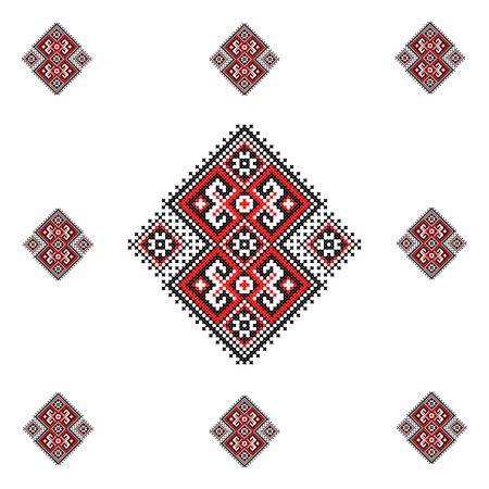 stitch: illustration of Ukraine cross stitch ornament.