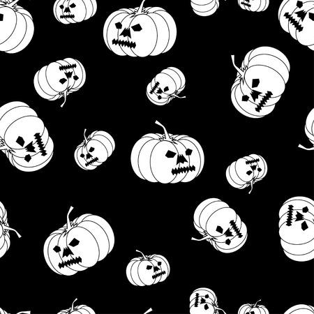 drakula: Vector white Halloween pumpkin pattern.