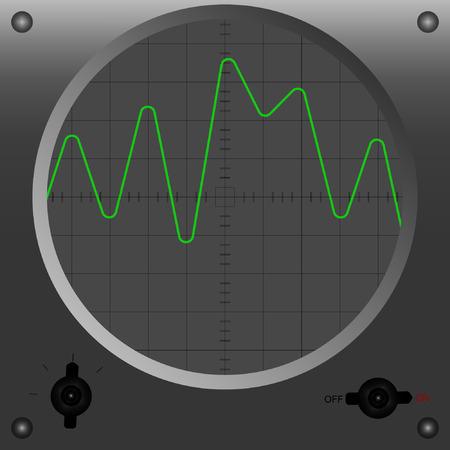 oscilloscope: Vector illustration of oscilloscope mode 2. Illustration