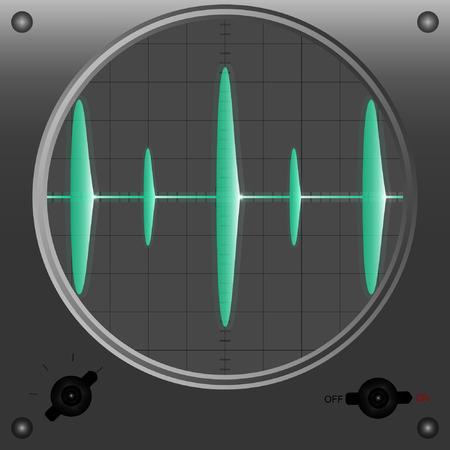 oscilloscope: Vector illustration of oscilloscope mode 3.