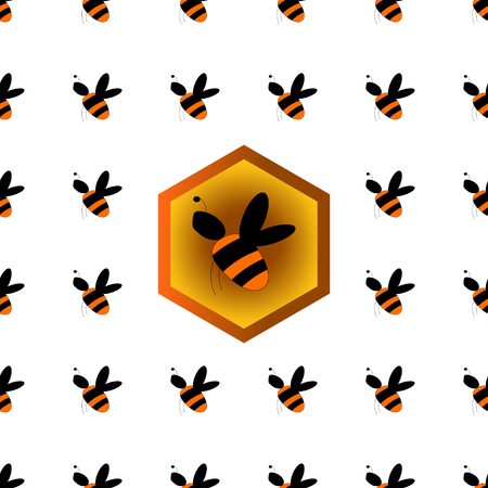 mead: Vector illustration of seamless pattern with bee and honeycomb.