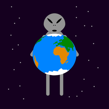Vector illustration of cartoon alien with Earth.