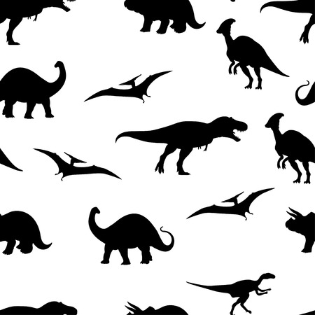 Vector illustration of dinosaur seamless pattern background. Vettoriali