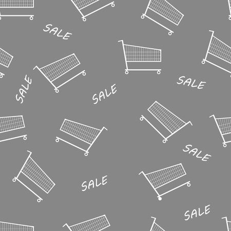 shopping carriage: Vector illustration of gray shopping trolley seamless pattern background. Illustration