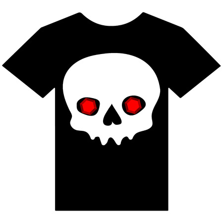 ruby: Vector illustration of t-shirt with ruby eyes skull.