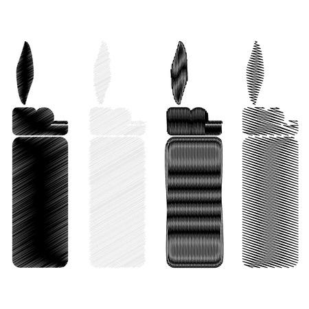 encendedores: Ilustración vectorial de cuatro encendedores nacidos. Conjunto.
