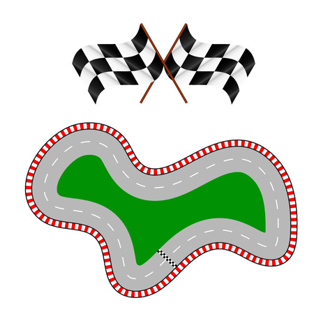 cars race: Illustration of racing track with two flags Illustration