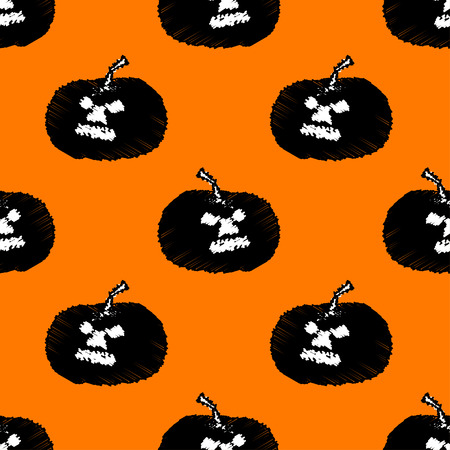 scary pumpkin: Halloween scary pumpkin seamless pattern background.