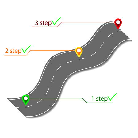 three pointer: Road info graphic with three colorful pin pointer Illustration