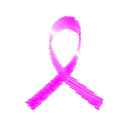 cancer symbol: Illustration of hatched pink ribbon