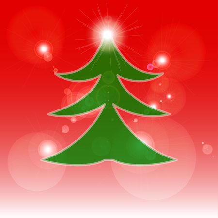postcard background: Christmas tree on red background. Christmas postcard.