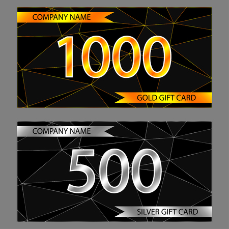 Vector set of gold and silver gift cards. Template of gift card.