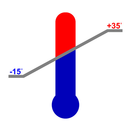 Vector operating temperature range. The thermometer with a temperature range. 向量圖像