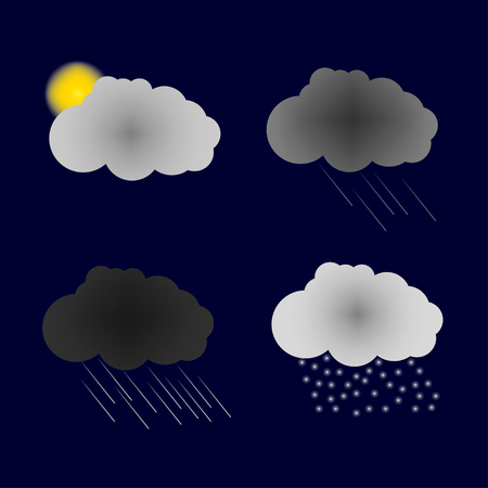 happening: Vector weather forecast icons.