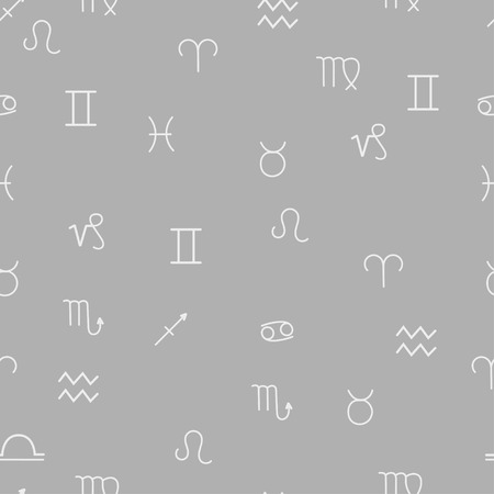 abstract aquarius: Grey zodiac signs seamless pattern background. Horoscope seamless pattern. Vector illustration.