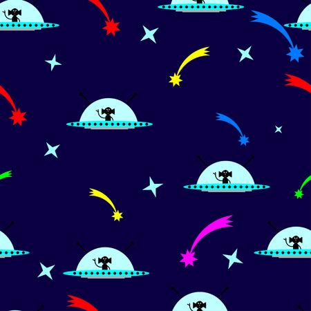 meteorites: Alien seamless pattern background. Ufo pattern. Vector illustration.