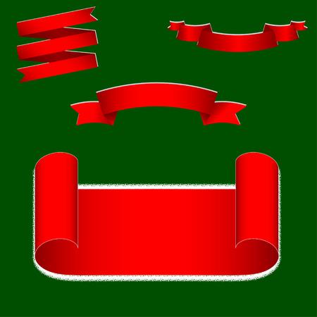 mo�os de navidad: Vector Christmas ribbons set. Red ribbons set.