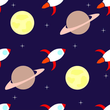 booster: Rockets and planets seamless pattern background. Vector illustration.