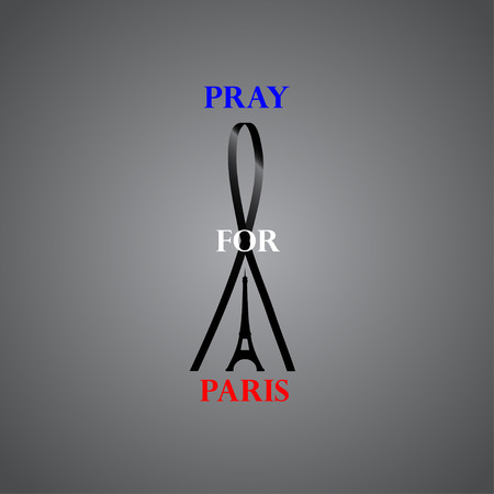 victim war: Eiffel tower with black ribbon and text Pray for Paris at gray background Illustration
