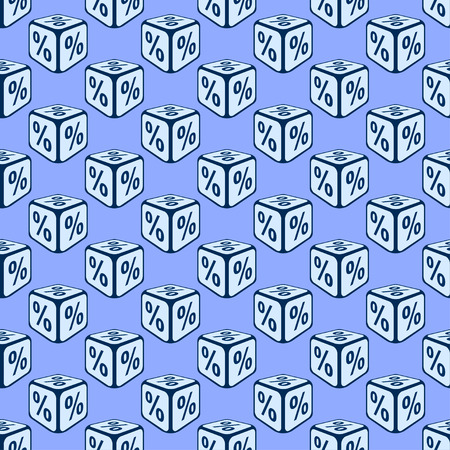 bank rate: Bank rate seamless pattern background. Dice seamless pattern with percent. Deposit rate.  Interest rate.