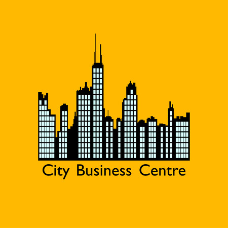 carroty: Business centre icon on carroty background. Real estate illustration.