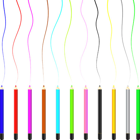 colored pencils: Line of colored pencils background. Illustration