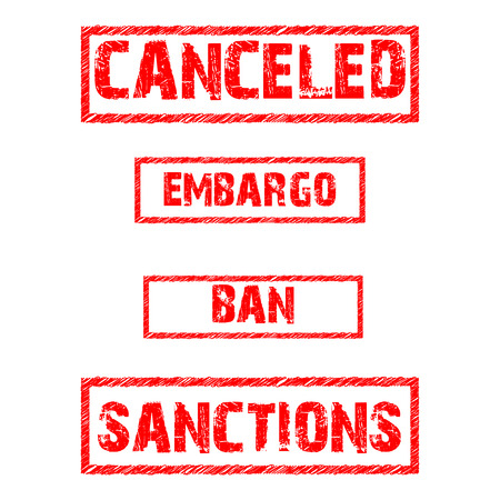 Set of prohibitions. Canceled, embargo, ban and sanctions red text on white background. Illustration