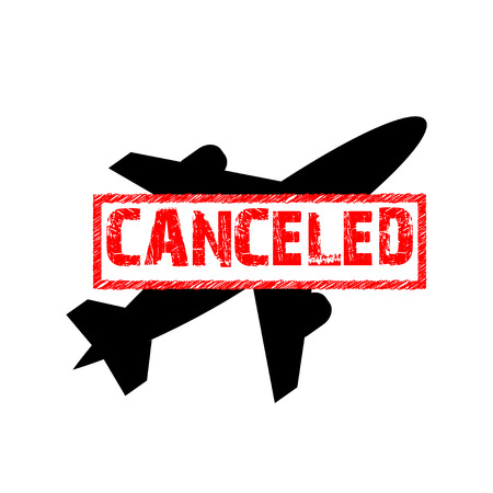 canceled: sign of the flight is canceled. Flight ban icon.