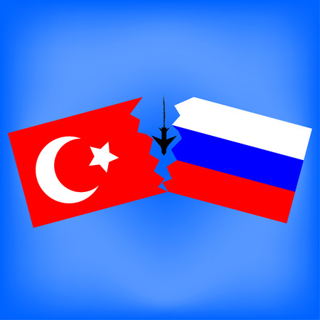 disrupt: Turkish and Russian flag with the downed aircraft. Vector illustration.