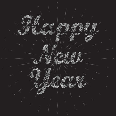 happy new year text: Happy New Year Background. Bubbles Text Happy New Year.