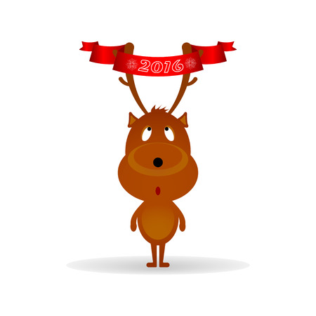 funny christmas: Funny Christmas deer with ribbon on the horns.