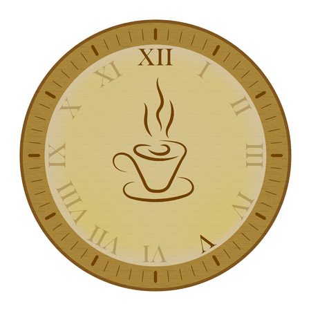 o'clock: Clock icon with cup of tea. Five oclock time.