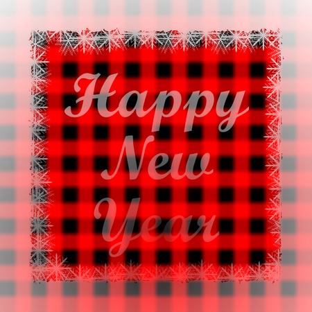 scotish: New Years greetings on blurred red Scottish tartan background.