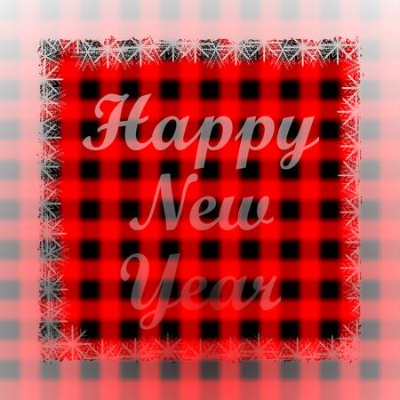 New Years greetings on blurred red Scottish tartan background.