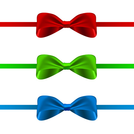 sale tags: Set of vector bows. Three vector silky bows for design and decoration.