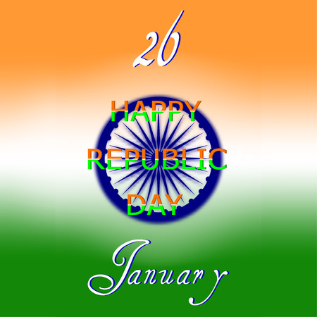 ashoka: Indian Republic Day concept background with Ashoka wheel. Vector Illustration.